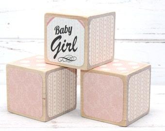 Shabby Chic Baby Shower Decor - Wood Blocks - Baby Blocks - Girl - Twinkle Twinkle - Personalized Blocks - 2 Inch