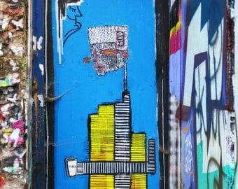 ALO blue & yellow street art print London