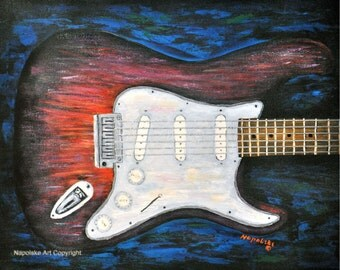 Fine Art Print - Abstract Guitar Print by Napolske Art Painting