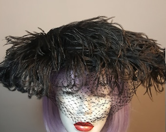 FREE  SHIPPING    1940 Ostrich  Feather  Hat