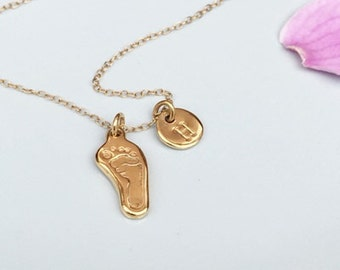 Personalised Miniturised Baby Footprint Necklace, Footprint Charm, Gold Handprint Jewellery