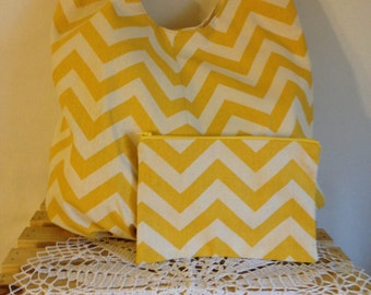 Crossbody Slouch Bag Yellow Chevron