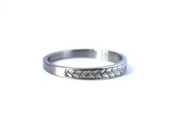 Hand Engraved Platinum Wedding Band