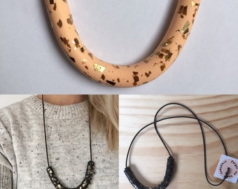 Polymer Clay necklace, Curve