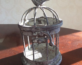 "Rustic Galvanized Metal Bird Cage, Rustic Decor, 4""x5"" Vintage Distressed Metal Decor"