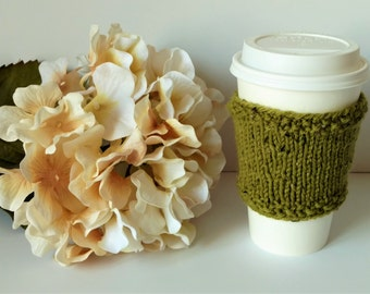 Knitted Coffee Cup Cozie, Colorway Avocado Tweed