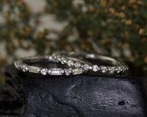 Single Shared Prong Wedding Band Set, Round Brilliant and Baguette Cut Diamonds, 3/4 Eternity, Stackable, Samantha C & Petite Brooke B