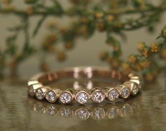 Bezel Set Diamond Wedding Band in 14k Rose Gold,  14 Diamonds, 0.25ctw, 2.5mm Wide, 5/8 Eternity, Diamond Bubble Band, Stackable, Cadence B