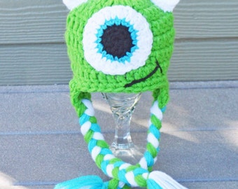 Mike Wazowski,monsters inc hat monster hat,baby monster hat, kids monster hat, crochet hat, kids crochet hat, photo prop, photography prop,
