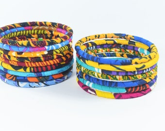 8 Handmade Multicolore African Fabric Bangles, Handmade Bangles, African Print Bangles, African Bracelets, Bracelets Africains