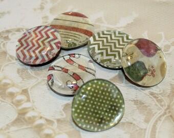 Glass Magnets, Set of 6 Christmas Magnets, Large Christmas Fridge Magnets