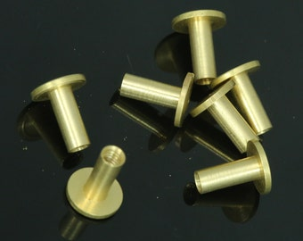 "10 pcs 9 x 11 mm raw brass studs, screw rivets, chicago screw / concho screw, unusual steampunk finding, 1/8"" bolt CSC10"