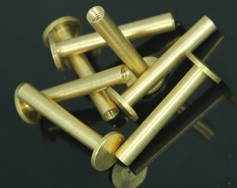 "36 pcs 26 x 9 mm raw brass studs, screw rivets, chicago screw / concho screw, unusual steampunk finding, 1/8"" bolt CSC25"