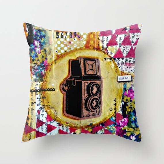 Throw pillow. Indoor or outdoor. Original Mixed Media