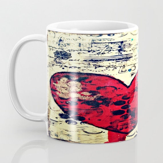 Mixed media mug. Original art by Croppin' Spree