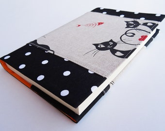 Black Cats Fabric Book Cover, Reusable Book Cover, Black Polka Dots, Black Cats Print Cotton, Gift for Cat Lovers, Paperback Book Protector
