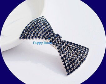 Puppy Bows ~Navy blue rhinestone dog bow barrette for male Yorkie pet clip ~USA seller