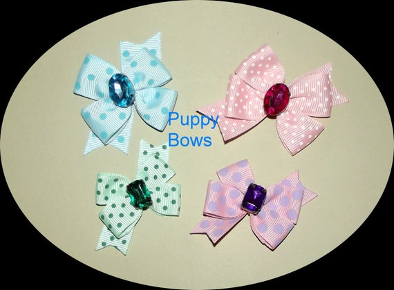 Puppy Bows ~ Pink blue green dotty loops dog pet hair bow - USA made and sold