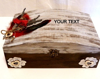 Rustic Wedding Card Box, Large Wedding Box, Wedding Card Holder, Custom Wedding Box, Keepsake Memory Box, Shabby Chic Wedding Box, Large Box