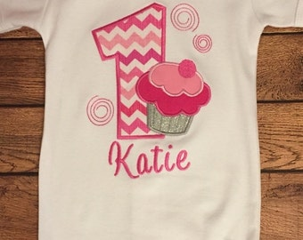 ON SALE Shades of Pink Birthday Cupcake Shirt or Baby Bodysuit