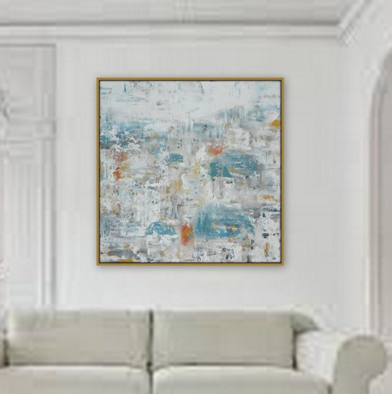"36"" x 36"" Extra Large Painting  Modern XL, Large  Abstract Painting   wall art home decor  wall art large decor extra large pastel greece"