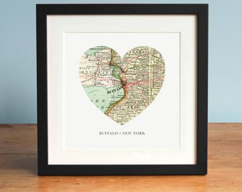 Buffalo NY Map, Heart Map, Buffalo Map Art, Map of Buffalo, New York Art, Valentines Day Gift, Personalized Map Art