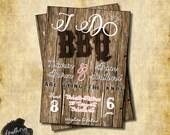 I Do BBQ - Branded Wood Wedding Invitation -MatchingRSVP- Print at Home PDF/JPEG files
