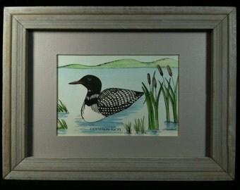 Vintage Linnea Wardwell Hand Painted Print, Matted, Framed, L P Wardwell Loon Print, Twinflower Designs, Linnea Wardwell Loon Print
