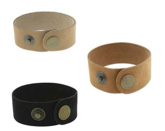 """Black Natural or Medium Tan Leather Cuff 1"""" Wide, Genuine Leather Wristband, 1"""" Wide, Cuff Blank, Hand Stamping Supplies"""