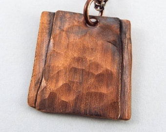 Hammered Antiqued Square Copper Pendant Necklace
