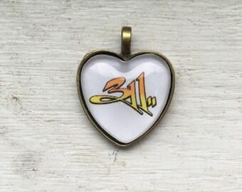 Orange 311 Heart Necklace