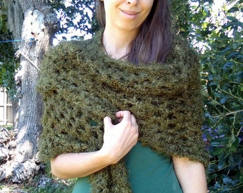 Moss shawl triangle crochet lace forest