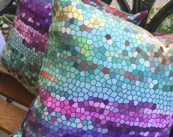 Beautiful Throw Pillow, teal  and purple mosaic,  teal, colorful, modern, jewel tones, home decor, pillows, cushions, throw pillow
