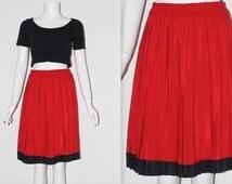 "Vintage 1980's Red Black STRIPE Hem High ELASTICATED Waist PLEATED Short Skirt Size Small Waist 25"" - 27"" Good Condition"