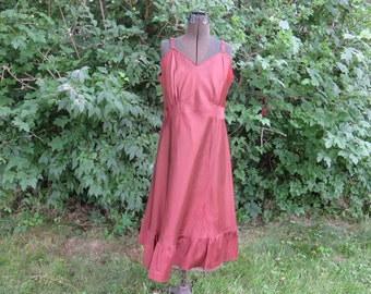 "Vintage 1940s 1950s rust brown slip Leona size 38 bust 36"" waist 34"" hips 47"" acetate"