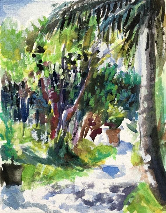 Tropical Shadows: Original watercolor painting