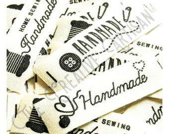 """15 Pack """"Handmade"""" Cotton Fabric Label/Embellishment For Clothing/Bags/Cushions/Toys/Sewn Crafts/Scrapbooking"""