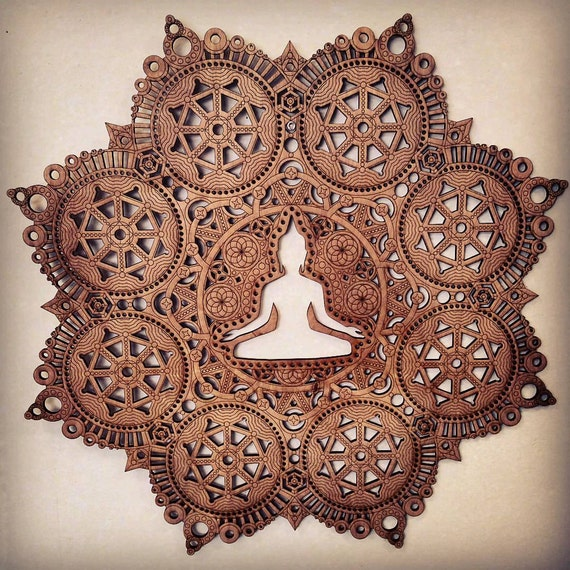 La méditation Mandala Laser Cut Art bois