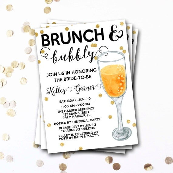 Brunch And Bubbly Bridal Shower Invitation Brunch And Bubbly