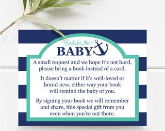 Books For The Baby Insert, Nautical Baby Shower Printable, Item 203