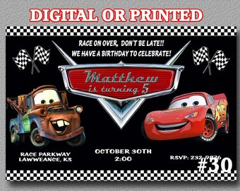 Cars Birthday Invitation Disney's Cars Lightning McQueen YOU Print Digital File or PRINTED Invitation Disney Cars Birthday Party Invitation