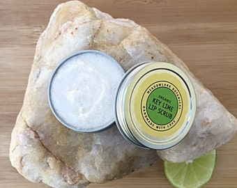 Lip Scrub- Organic Key Lime  / Natural Lip Polish /  Exfoliating Scrub  / Vegan Skincare / 1.5 + 2.5 oz