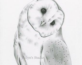 "8""x10"" Barn Owl Art Print, Owl Charcoal Drawing Giclee Print, Owl Sketch, Owl Giclee Print, Owl Drawing, Charcoal Owl"