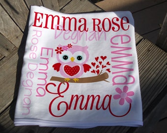 Personalized Valentine Baby Blanket - Sweetheart Owl Receiving Blanket for Girls - Valentine Baby Name Blanket - Newborn Swaddling Blanket