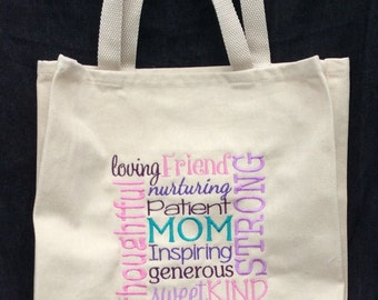 Mother's Day Embroidered Mom Tote bag- Inspirational