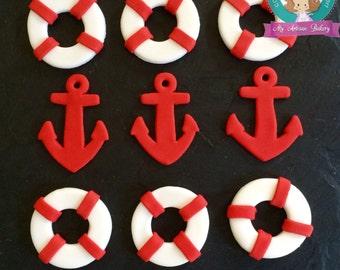 nautical fondant  cupcake topper
