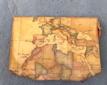 Vintage Genuine Alviero Martini bag pouch World Map tan