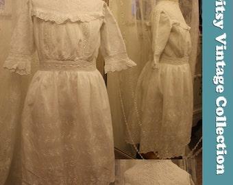 1920s Girls White Victoriana Dress - Age 6