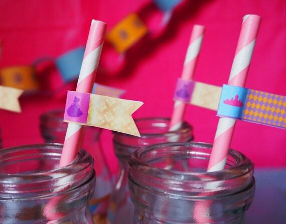 PRINCESS - Girls - Birthday - Shower - Purple - Gold - Blue - STRAW Flags - PRINTABLE - Pdf - Digital File - Instant Download