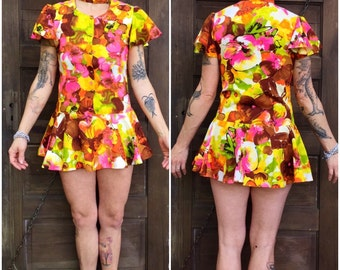 Vintage 60's Groovy Mod Micro Mini Dress With Neck Strap Size Small